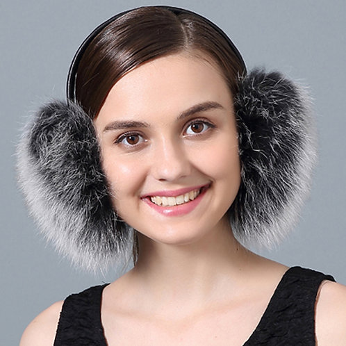 DMA73E Black Frost Fox Fur Earmuffs With Leather Band
