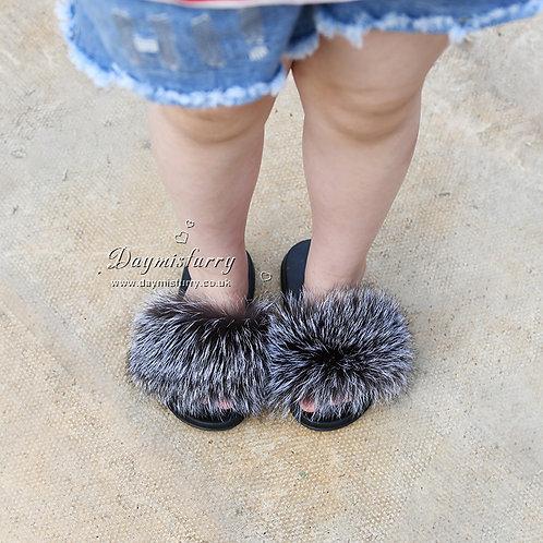 DMA66F Silver Fox Fur Children's Slipper