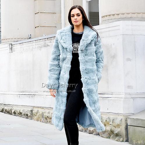 DMGA124B  Patched Rabbit Fur Long Coat