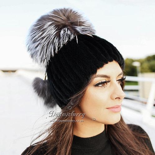 DMC56C Black Mink Fur Hat Cap With Silver Fox Pom Pom