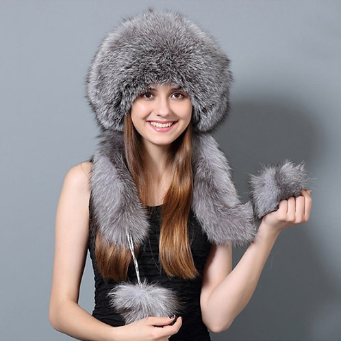 DMC175 Silver Fox Fur Hat with Rex rabbit Top