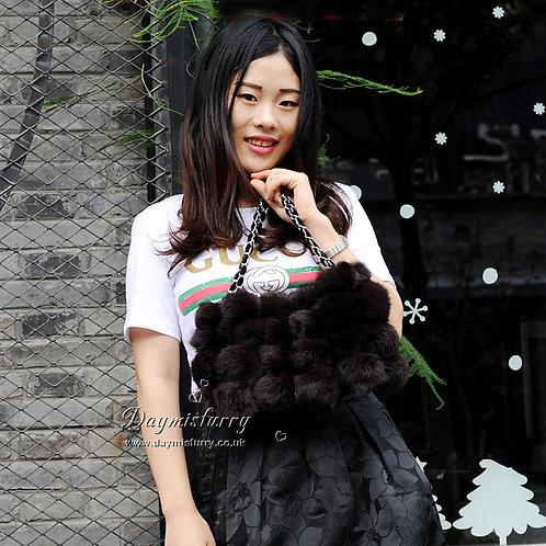 DMH11D Rabbit Fur Lady Pompom Hand Bag In Brown