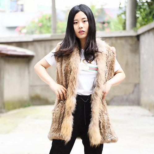 DMGB76A Knit Rabbit Fur Vest With Raccoon Fur Trim