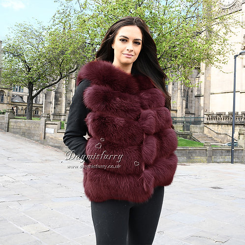 DMGB08D Fox Fur Gilet in Wine Red