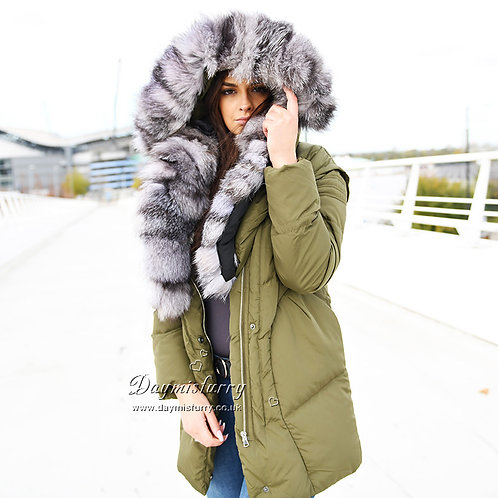 DMGD06B NEW IN Down Jacket With Fox Fur Collar