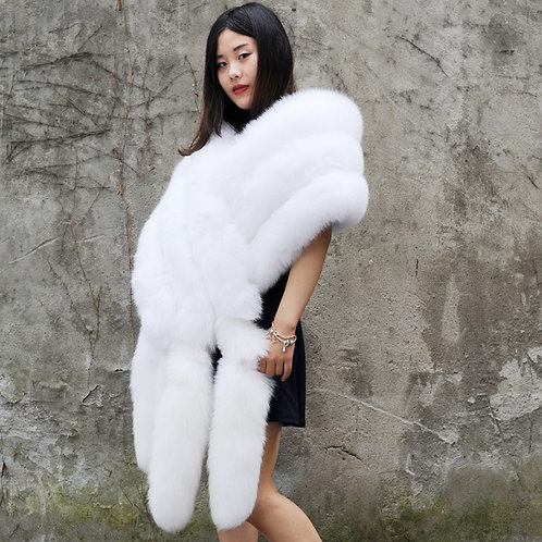 DMB32 Extremely Luxury White Three Tier Fox Fur Stole With Tails