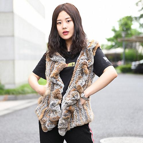 DMGB23 Knitted Rabbit Fur Gilet - Natural Brown