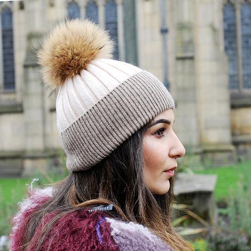 DMC45  Wool Beanie Hat With Raccoon Pom Pom
