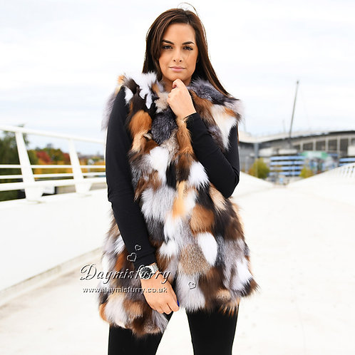 DMGB212 Pieced Multicolor Fox Fur Vest