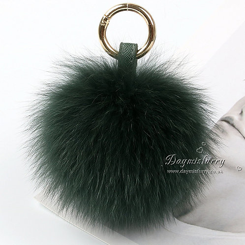 DMR32 Fox Fur Pom Pom Bag Charm Fur Ball Keyring