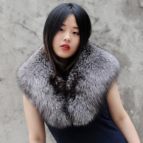 DMA56 Large Detachable Silver Fox Fur Collar