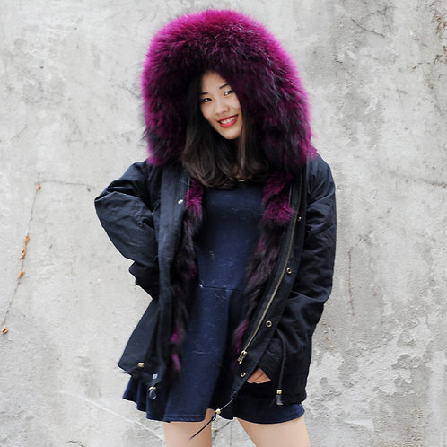 DMGP05K New Purple Color Fox Fur Lined Parka with Raccoon Fur Hood