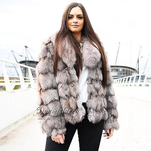 DMGA106B  Khaki Fox Fur Jacket