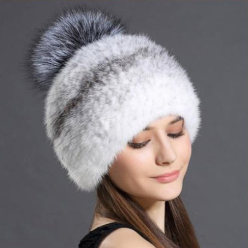 DMC88A Cross Mink Fur Beanie Hat With Silver Fox Fur Pom