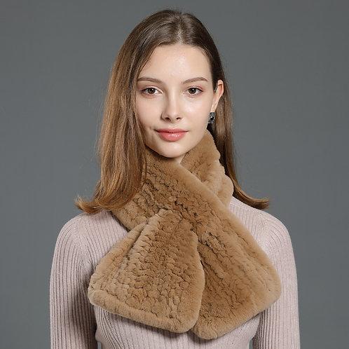DMS33C Knitted Rex Rabbit Fur Neck Scarf