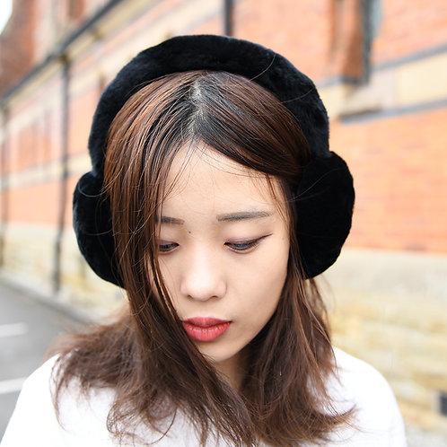 DMA40D Rex Rabbit Fur Earmuffs With Matching Fur Band In Black