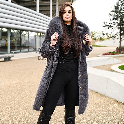 DMGT05E Teddy Wool Hoody Coat With Fox Fur Trim - Dark Grey