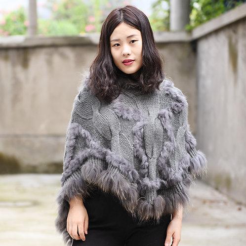 DMB104 Raccoon Fur Trim Knit Poncho With Hood