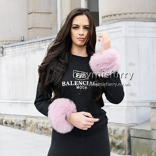 DMA11H Finn Fox Fur Slap on Cuffs / Bracelet - Pink Icing