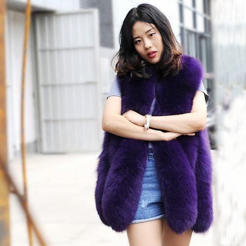 DMGB15G Fox Fur Horizontal Design Lady Gilet-Purple
