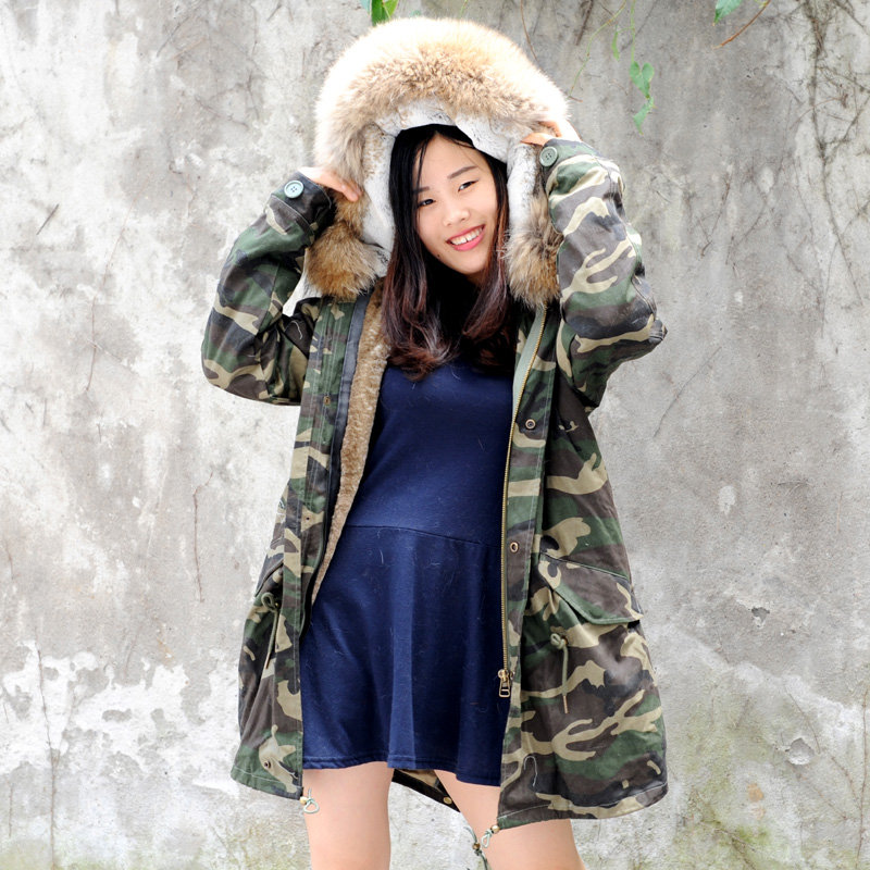 643a1e4d888 DMGP11C AW18 Faux Fur Lined Military Parka with Raccoon Fur Hood    daymisfurry