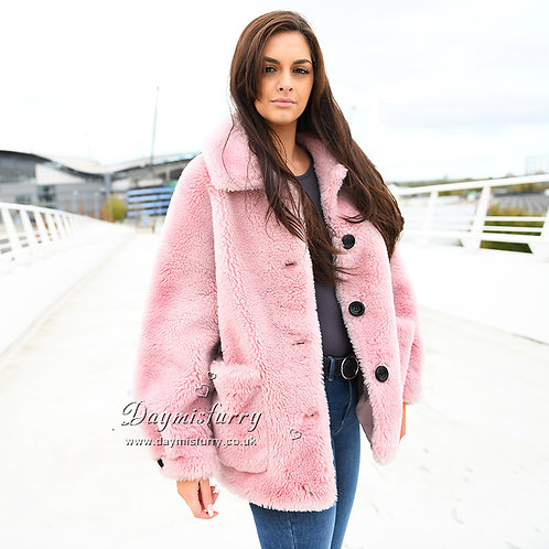 DMGT01C Pink Sheep Wool Teddy Bear Coat