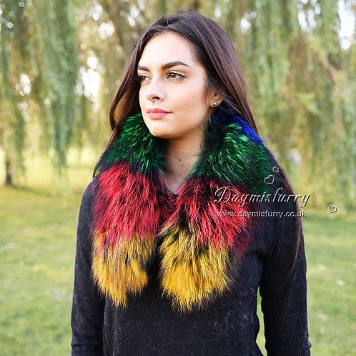 DMA37E Detachable Raccoon Fur Collar