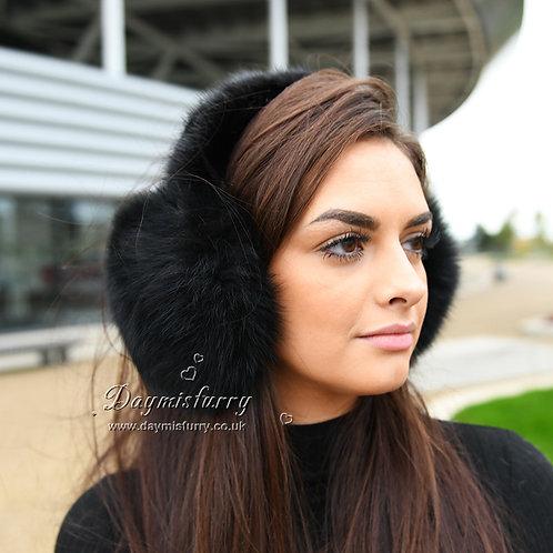 DMA71D Black Fox Fur Earmuffs With Mink Fur Band