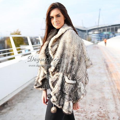 DMBM15C Ruffled Knit Mink Fur Shawl in Sunlight