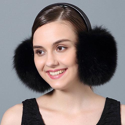 DMA73C Black Fox Fur Earmuffs With Leather Band