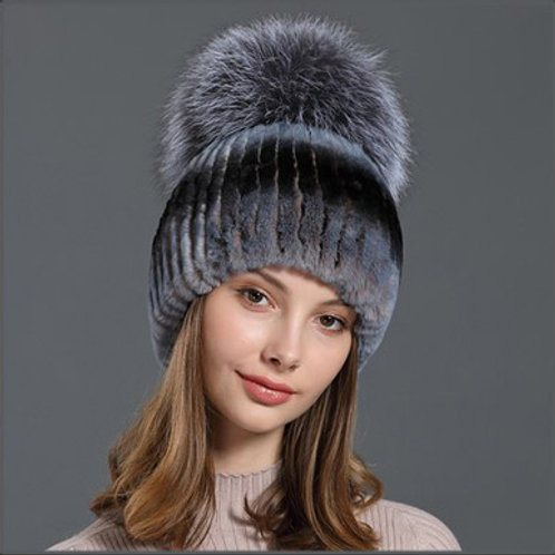 DMC83 Rex Rabbit Fur Beanie Hat With Raccoon Fur Pom Pom