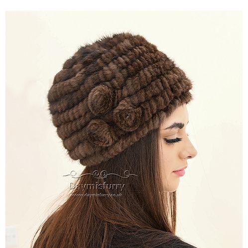 Knit Mink Fur Beanie Hat, Winter Hat, Real Fur Hat