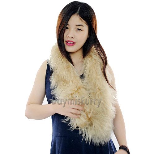 DMS11A Beige Mongolia Lamb Fur Scarf
