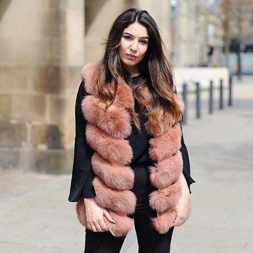 DMGB04G Fox Fur Horizontal Design Lady Gilet