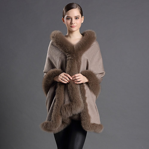 DMBP25F Cashmere Cape with Fox Fur Trim