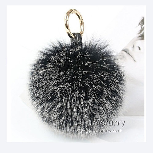 DMAR32 Fox Fur Ball Bag Charm Pendant - Black Frost