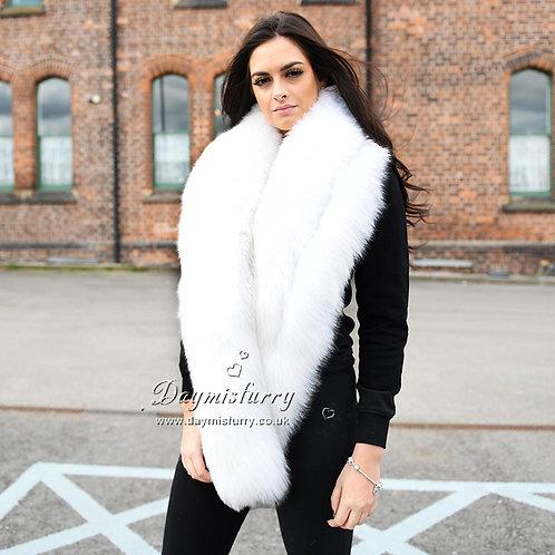 DMB04B Authentic White Fox Fur Wedding Stole