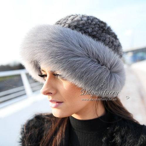 DMC209G  Fox Fur Roller Hat with Mink Top