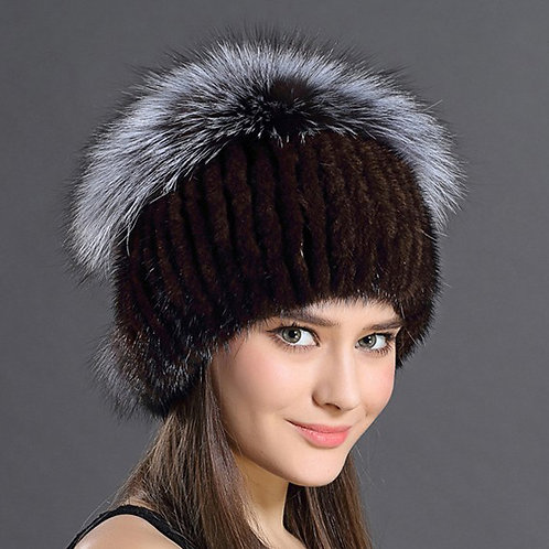 DMC35C Knit Mink Fur Ha Hat With Silver Fox Fur Top
