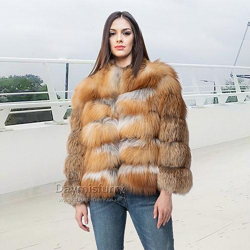 DMGA253 Layered Red Fox Fur Jacket, Real Fur Coat, Winter Coat