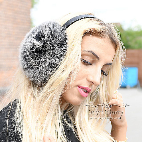 Black Frost Fox Fur Earmuffs With Leather Band