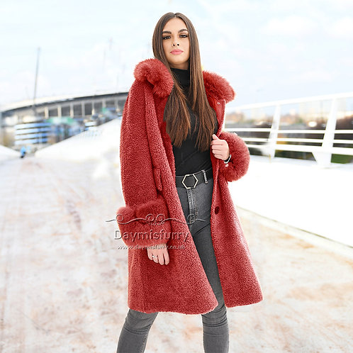 DMGT24F Fleece Wool Teddy Coat  With Fox Fur Collar and Fur Cuff