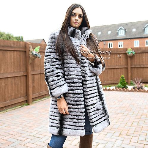 DMGA02 Rex Rabbit Fur Jacket Winter Coats in Chinchilla Print
