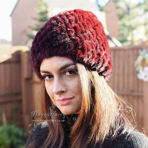 DMC53G Knit Mink Fur Hat / Beanie Hat  / Winter hat