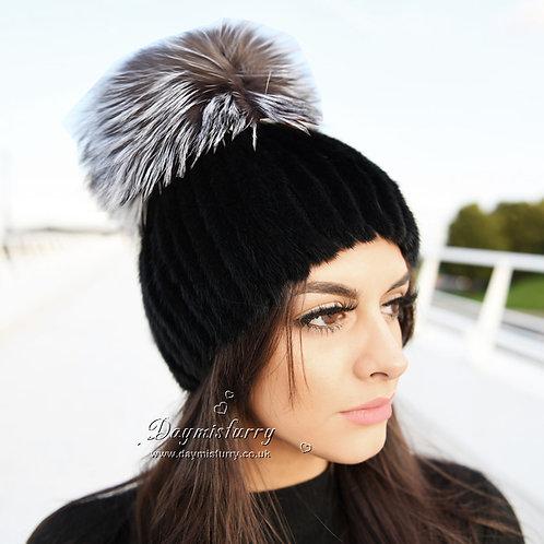 DMC16C  Mink Fur Beanie Hat Cap With Fox Pom Pom