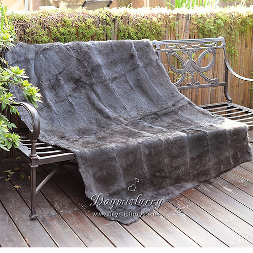 DMD08C Rabbit Fur Blanket / Fur Throw in Charcoal