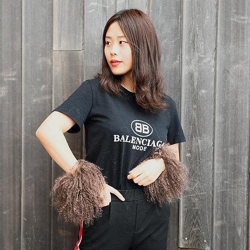 DMA47G Mongonlian Lamb Fur Slap On Cuff Bracelet In Chocolate