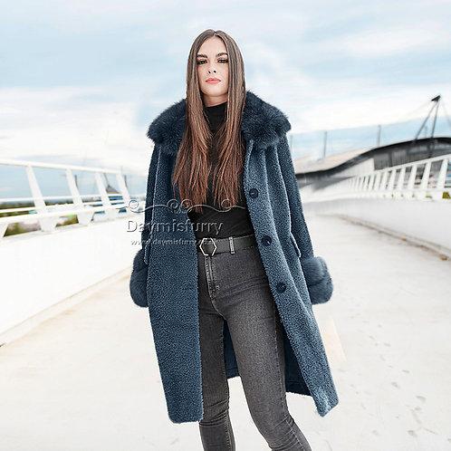 DMGT24D Fleece Wool Teddy Coat - Denim Blue