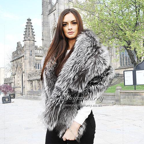 DMB133 Rylee 3 Tier Fox Fur Shawl