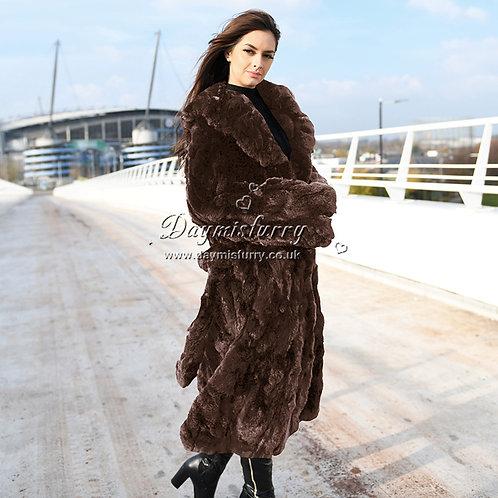 DMGA126D  Pieced Rex Rabbit Fur Jacket / Overcoat